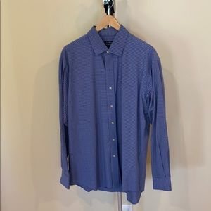 Club Room Blue & White Checked Shirt - Sz 17 34/35